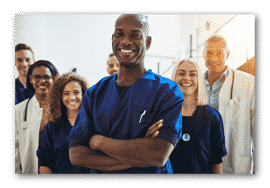 Diverse group of healthcare professionals